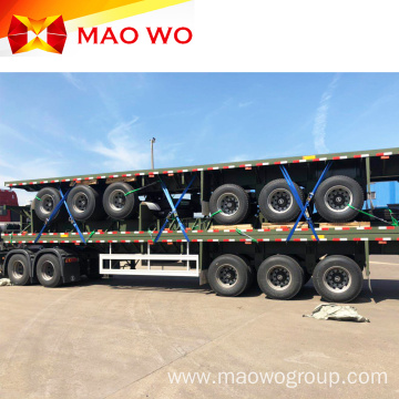 Tri Axle 40ft Container Flatbed Semi Trailer
